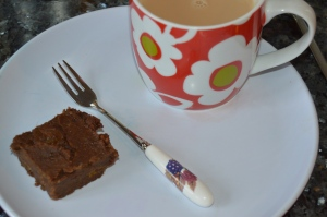 A cup of tea and Deliciously Ella's sweet potato brownie. Mmmm.
